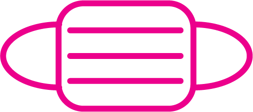 Pink face mask icon